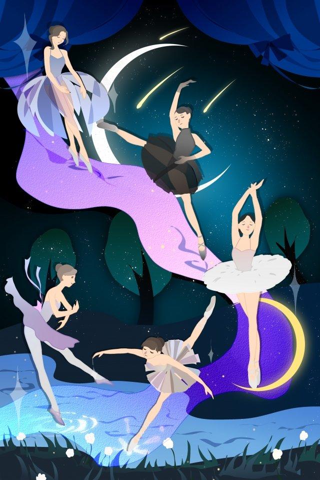 芭蕾舞女孩十幾歲的女孩之夜 插畫素材 插畫圖片