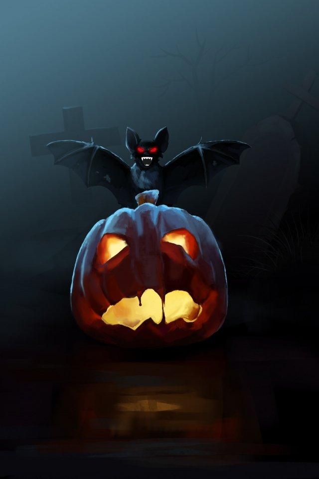 bat halloween labu kuburan imej ilustrasi