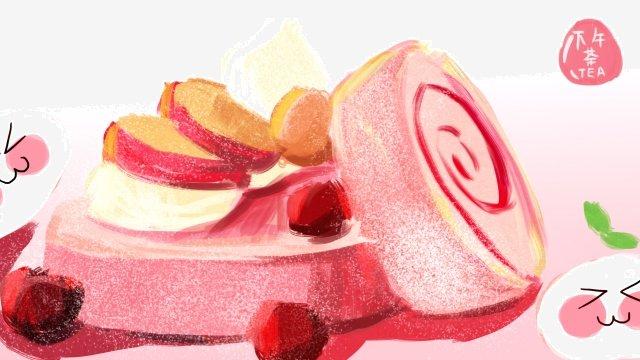 be careful afternoon tea pink pastry llustration image illustration image