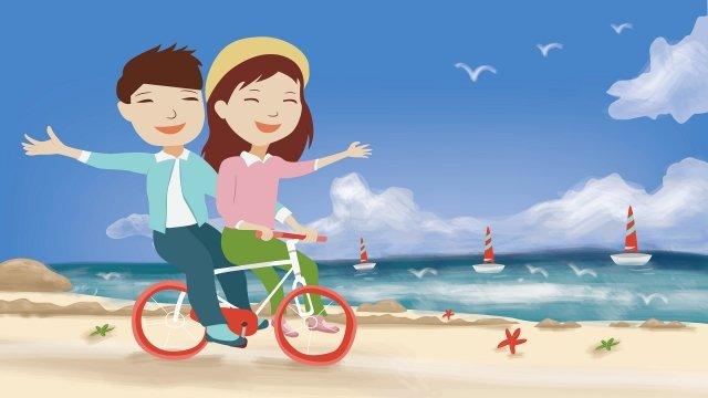 ビーチサイクリング観光カップル イラスト素材