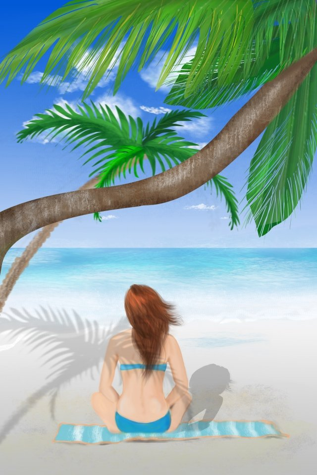 beach sea coconut tree beauty, Blue Sky, White Clouds, Early Summer illustration image