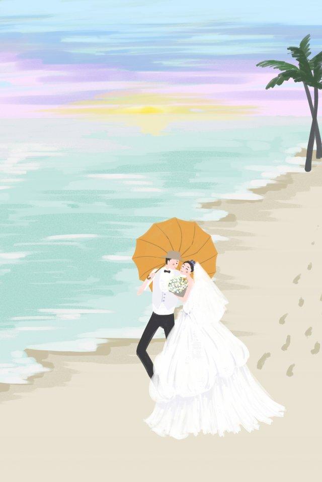 海灘海邊天空背景 插畫圖片