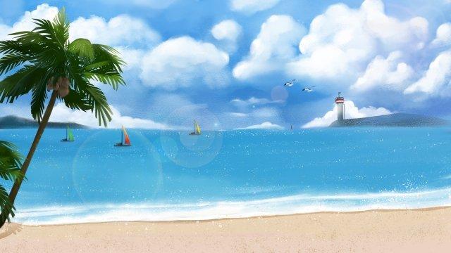 해변 파도 하늘 갈매기 삽화 소재 삽화 이미지