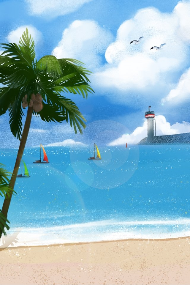 beach wave sky seagull, Lighthouse, Blue Sky, White Clouds illustration image