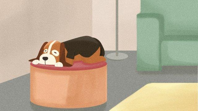 小獵犬狗上床睡覺等 插畫素材 插畫圖片