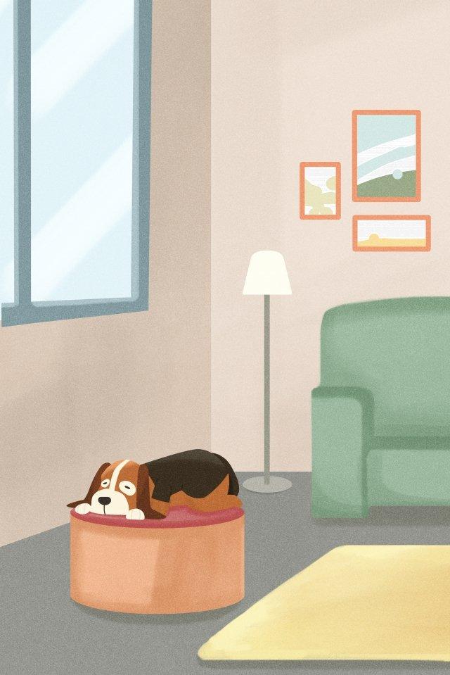 小獵犬狗上床睡覺等 插畫素材