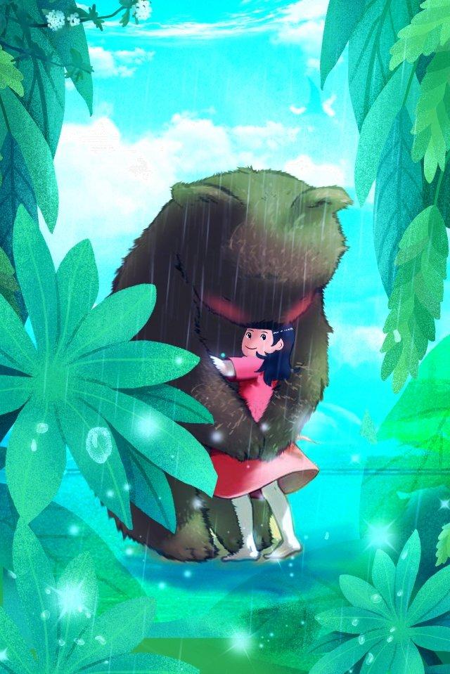 クマの女の子の葉の森 イラストレーション画像