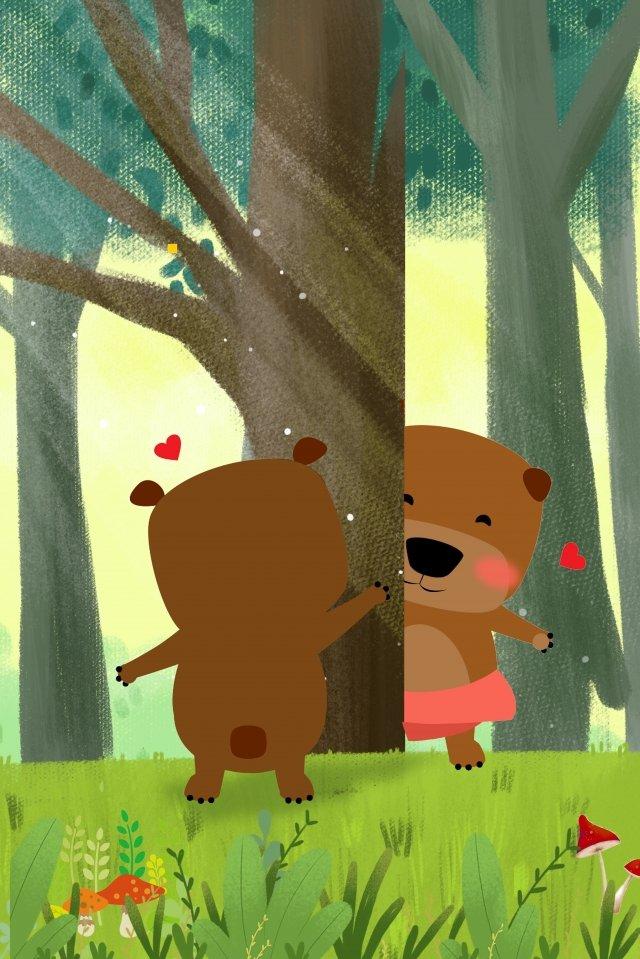 bear play game forest, Tree, Grassland, Sunlight illustration image