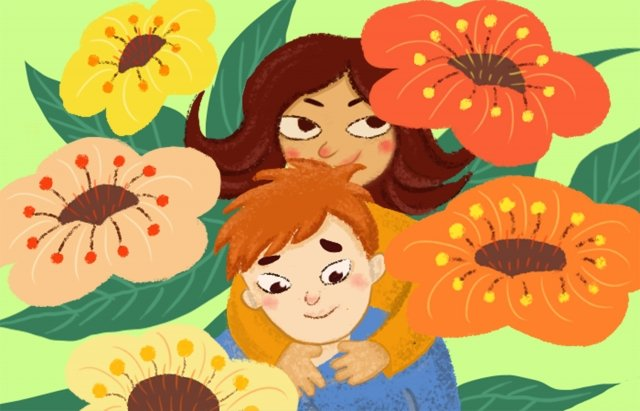 beautiful and fresh couple hand drawn illustration boy, Girl, Petal, Literary illustration image