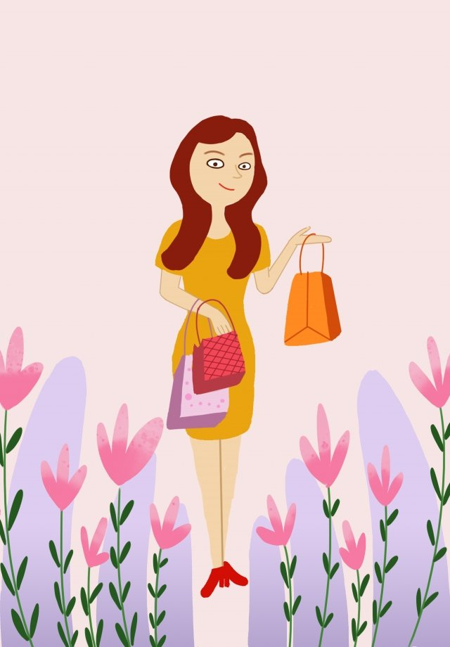 beautiful and fresh hand drawn illustration female bag, Grass, Lotus, Leaf illustration image