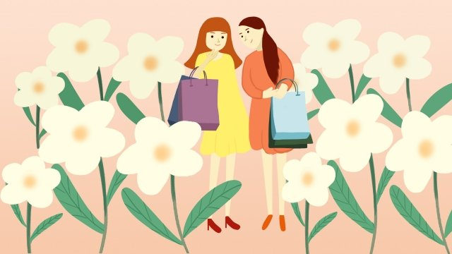 beautiful and fresh hand drawn illustration female bag, Flower, Leaf, Phone Wallpaper illustration image