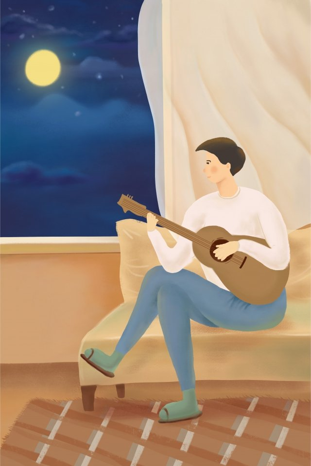 beautiful and fresh starry sky night in front of the window, Boy, Playing Guitar, Hand Drawn Illustration illustration image