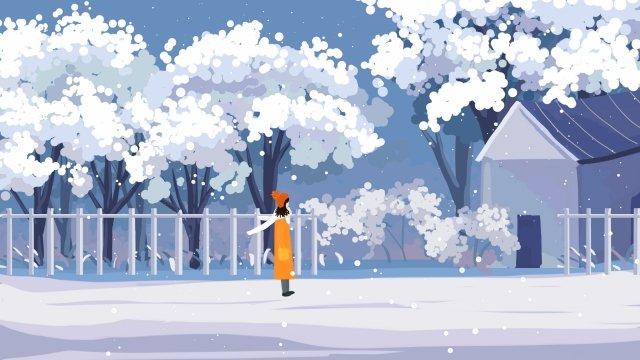 아름 다운 아름 다운 그림 손으로 그린 겨울 삽화 소재
