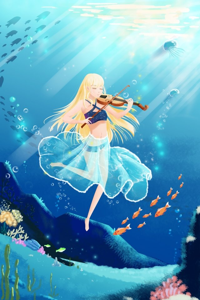 beautiful cartoon underwater ocean, Seabed, Music, Music Festival illustration image