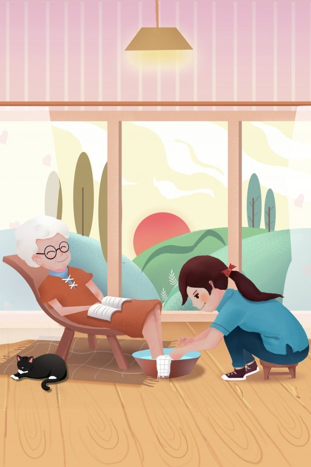 beautiful double ninth festival respecting the old ascend, Filial Piety, Little Girl, Old Man illustration image