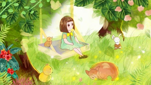 beautiful dream fairy tale girl, Deep Forest, Flowers, Grassland illustration image