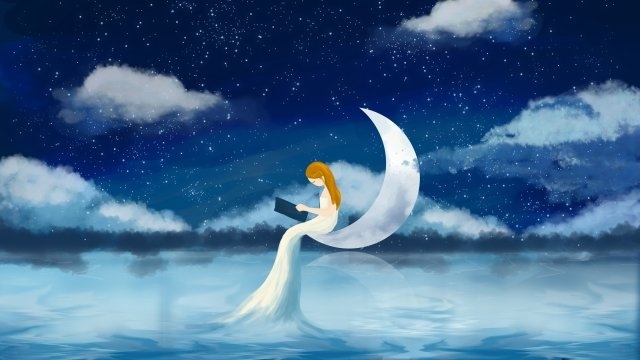 beautiful dream romantic starry sky creative starry sky, Hand Drawn Illustration, Beautiful Romance, Beautiful Illustration illustration image