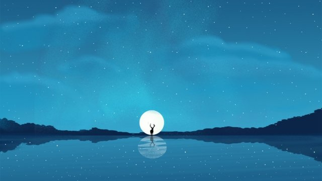 beautiful fresh elk myth, Dreamland, Night, Galaxy illustration image