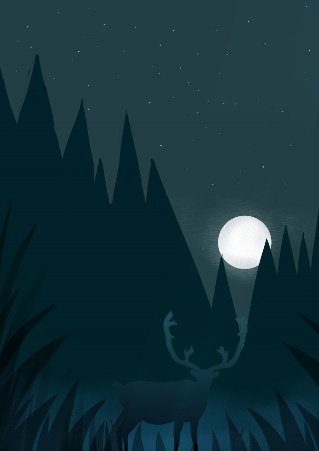 beautiful fresh night moon llustration image