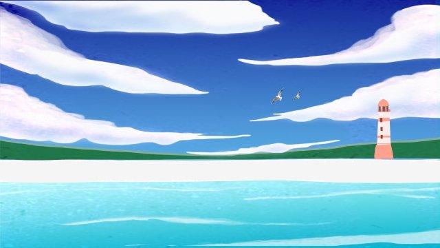 美麗清新的夏天海邊 插畫素材