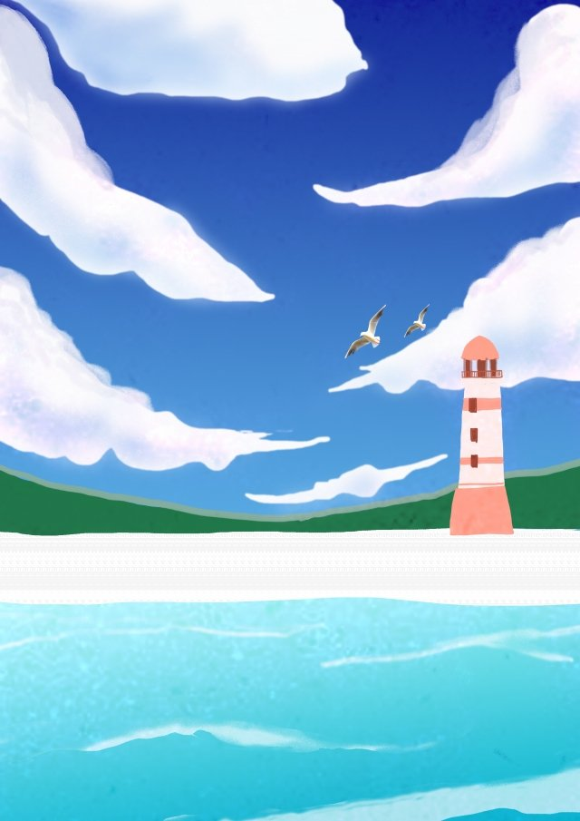 美麗清新的夏天海邊 插畫素材 插畫圖片