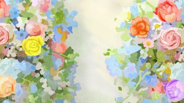 beautiful illustration flowers floral, Elegant, Green, Light Blue illustration image