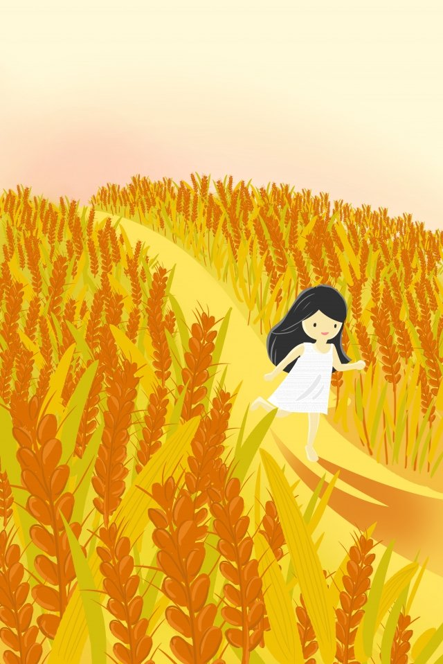 beautiful illustration teenage girl dusk, Wheat Field, Run, Evening illustration image