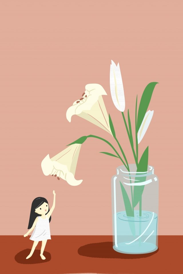 beautiful illustration teenage girl lily, Flower, Glass Bottle, Vase illustration image