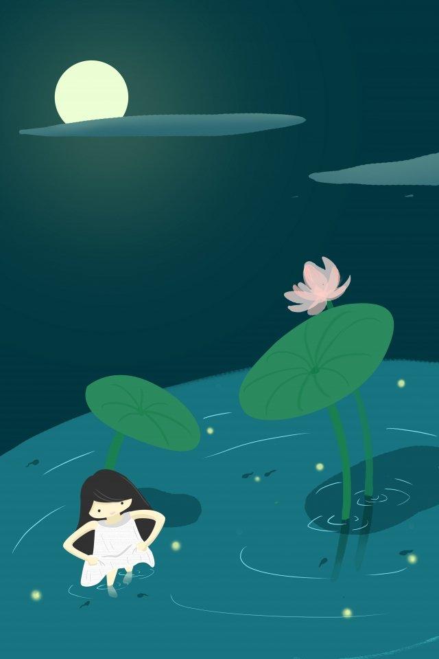beautiful illustration teenage girl lotus pond, Moonlight, Playing In The Water, At Night illustration image