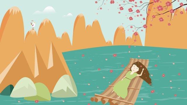 美しいマウンテンマーチ桃の花 イラスト素材 イラスト画像