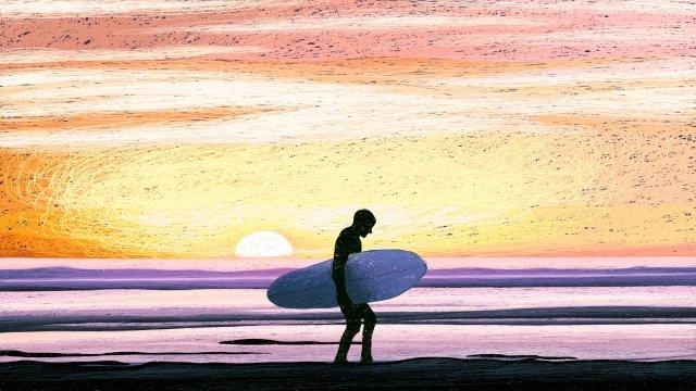 beautiful ocean healing coil illustration, Dream, Pink Ocean, Dusk illustration image