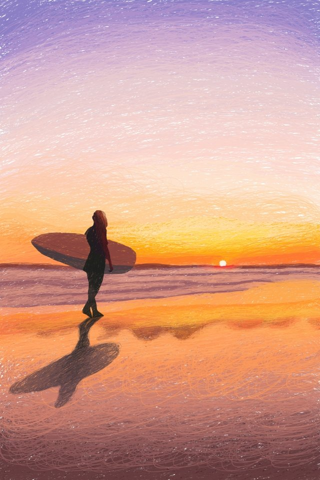 beautiful ocean healing seaside, Sunset, Coil Painting, Silhouette illustration image
