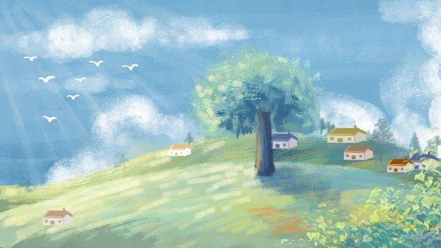 tranh sơn dầu đẹp trời xanh Hình minh họa