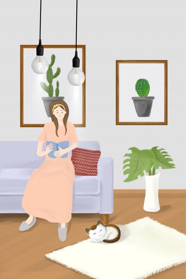美麗的閱讀人物沙發 插畫素材