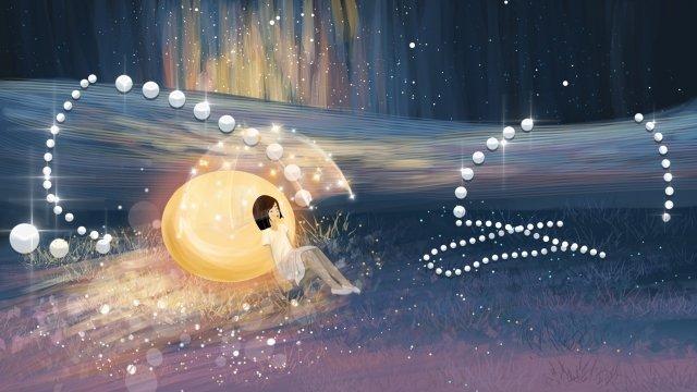 美しいロマンチックな真珠の星空 イラストレーション画像 イラスト画像