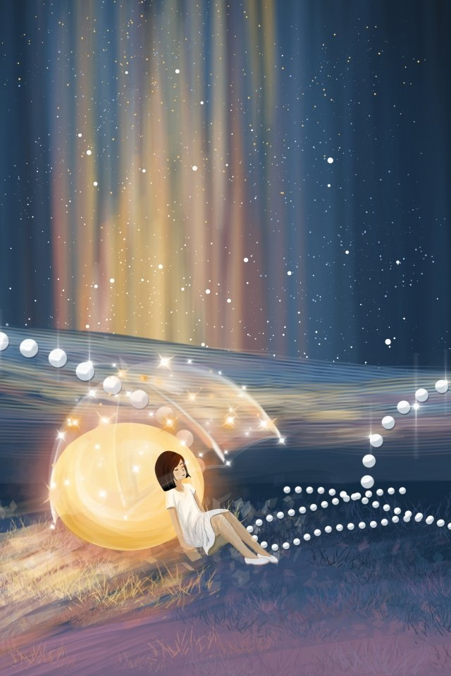 beautiful romantic pearl starry sky, Girl, Moonlight, Mirage illustration image