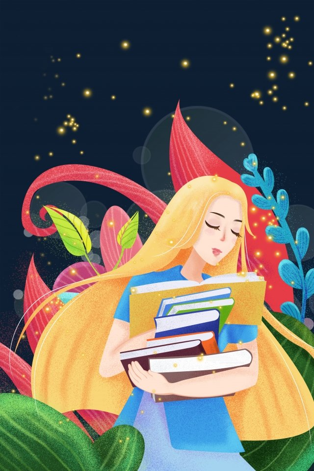 美麗浪漫的少女女孩 插畫素材