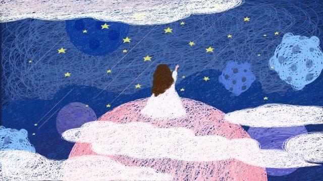 linda estrelado céu bobina pintura rosa Material de ilustração