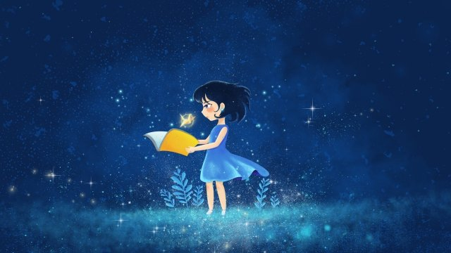beautiful starry sky illuminate paper crane, Teenage Girl, Illustration, Romantic illustration image