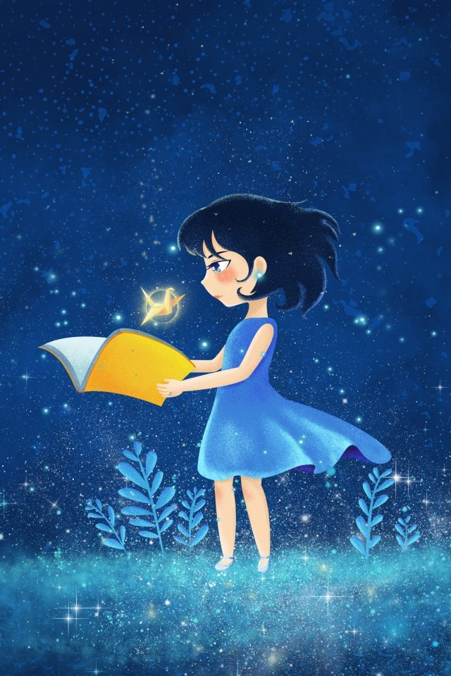 beautiful starry sky illuminate paper crane, Teenage Girl, Illustration, Romantic illustration image