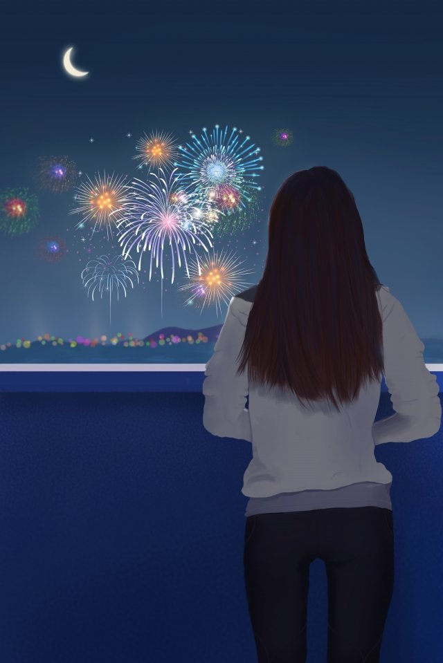 beauty back view fireworks sea surface, Crescent, Fireworks, Scene illustration image