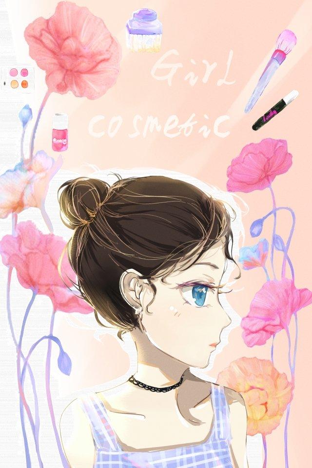아름다움 소녀 소녀 아름다움 핑크색 화장품 삽화 소재 삽화 이미지