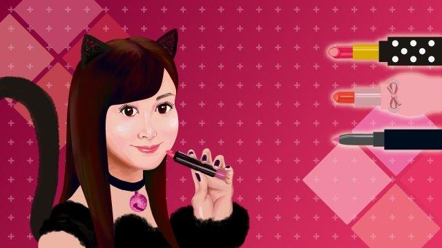 beauty teenage girl cat lip gloss, Lipstick, Lovely, Cosmetic illustration image