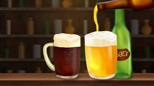 ビールビール祭りダークビールバー イラストレーション画像