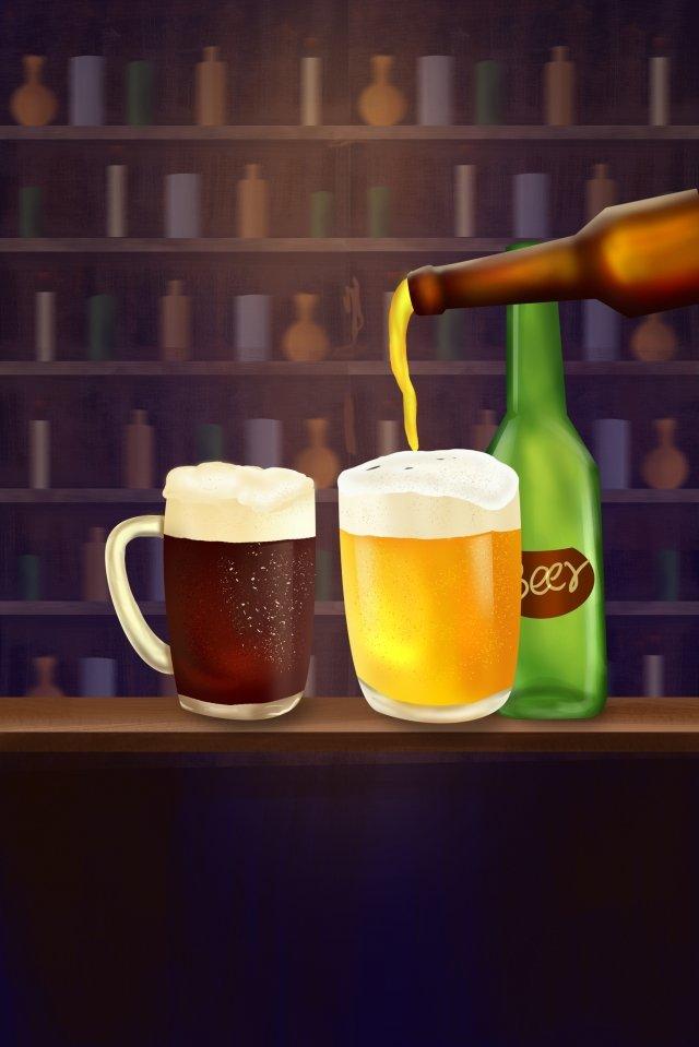 ビールビール祭りダークビールバー イラストレーション画像 イラスト画像