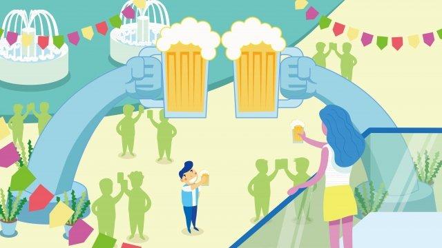 beer festival celebrate cheer cheers, Toast, Romantic, Beer illustration image