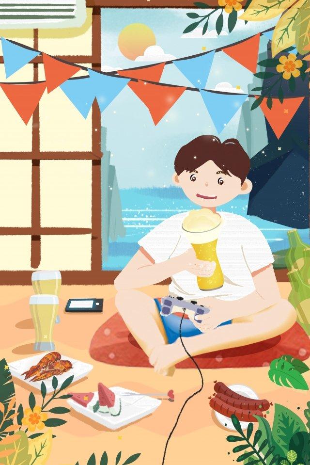 lễ hội bia cậu bé uống bia bunting ăn nhẹ Hình minh họa