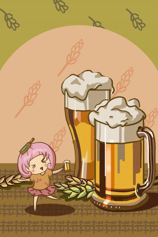 ビールの女の子イラストビール暖かい イラスト素材 イラスト画像