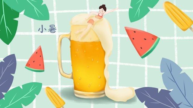 啤酒杯游泳小熱夏天 插畫素材