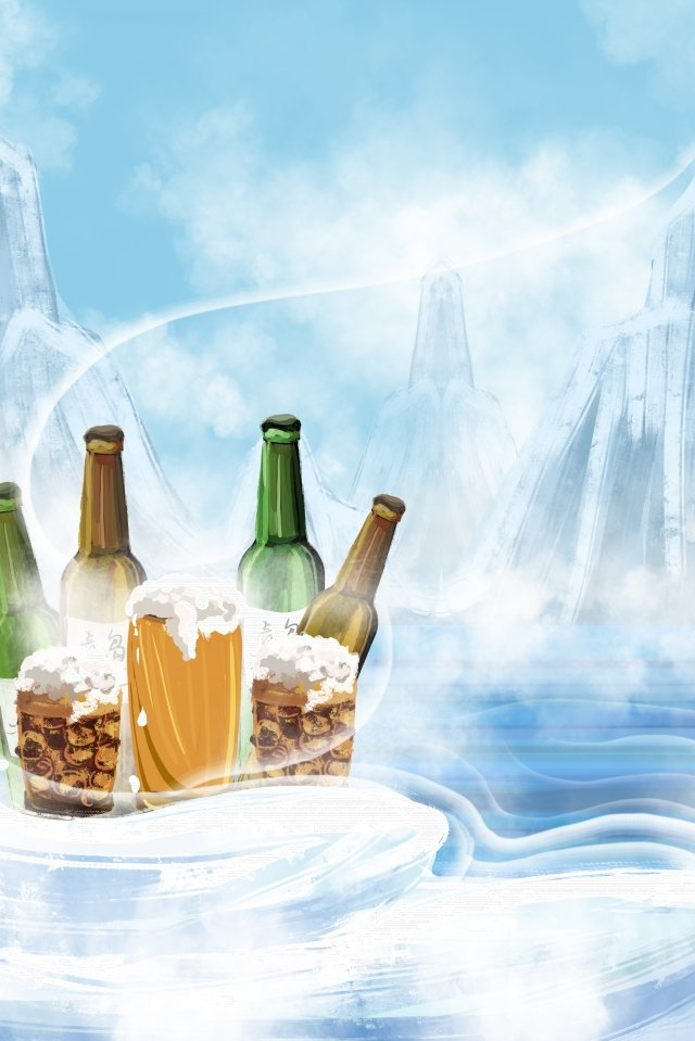 beer snow mountain ice ice beer llustration image
